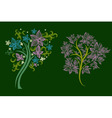 trees made from decorative flower vector image vector image