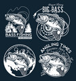 bass fishing emblem on black background vector image