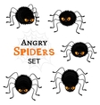 Cartoon scary black spiders set isolated on white vector image