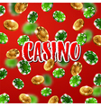 falling green and gold casino chips vector image