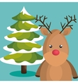 reindeer character christmas icon vector image