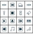 set of 16 music icons includes stop button note vector image