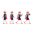 set of businesswoman in walking poses rear and vector image