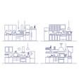 set of kitchens furnished with modern furniture vector image
