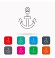 Anchor icon Nautical drogue sign Sea symbol vector image