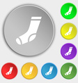 socks icon sign Symbol on eight flat buttons vector image