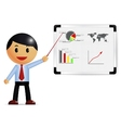 Businessman presenting on whiteboard vector image vector image