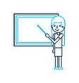cartoon teacher with pointer standing in front of vector image
