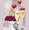 champagne glasses and eiffel tower background vector image
