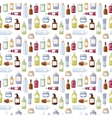 Cosmetics bottles seamless pattern vector image