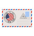 envelope with welcome to new york stamp vector image