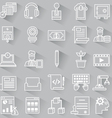 Set of business outline icons with shadow vector image