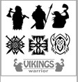 silhouettes of the vikings set vector image