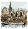 Vintage Hand Drawn View of Old Church in Amsterdam vector image