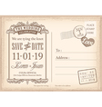 Vintage postcard save the date background vector image