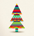 Christmas tree in colorful geometric art style vector image