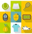 Active tennis icons set flat style vector image