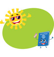 passport and sun characters symbolizing vacation vector image