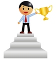 Man holding trophy vector image vector image