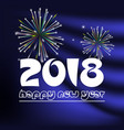 Happy new year 2018 on blue navy abstract color vector image