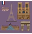 Paris Travel Set Famous Places - Eiffel Tower vector image
