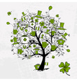 St Patricks Day drawing tree with beer mugs vector image