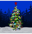 cartoon decorated Christmas tree in winter forest vector image
