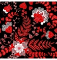 Elegant seamless pattern with red fantasy flowers vector image