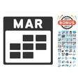 March Calendar Grid Flat Icon With Bonus vector image