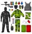 Paintball icons set Paintball equipment vector image