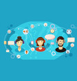 call center touch banner horizontal cartoon style vector image