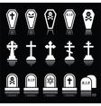 Halloween graveyard icons set - coffin cross vector image