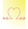 red heart beats cardiogram vector image