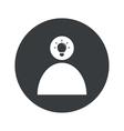 Monochrome round idea icon 2 vector image
