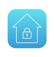 House with closed lock line icon vector image vector image