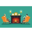 Gentlemen at Fireplace Tea Drink Evening vector image