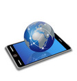 network earth on smart phone vector image