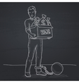 Chained man with bags full of taxes vector image