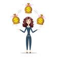 businesswoman holding bags full of money vector image