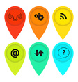 colored tags on the map with icons vector image