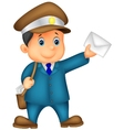 Mail cartoon carrier with bag and letter vector image