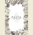 menu template with italian pasta vector image