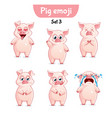 set of cute pig characters set 3 vector image