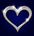 silver frame heart on a dark background vector image