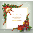 Christmas wreath with bells and gifts vector image