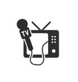 Black tv and microphone icon vector image