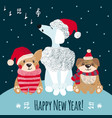 new year greeting card with cute dogs vector image