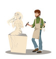 young man sculptor working on his sculpture vector image