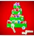 Green stripe Christmas paper tree vector image
