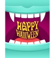 Happy Halloween with vampire mouth vector image
